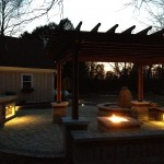 Night Lighting with outdoor Bar and Gas Firepit